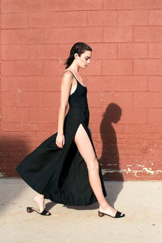 Le Fashion Blog Summer Style Black Cami Side Slit Wide Leg Pants Heeled Sandals Via Bonadrag