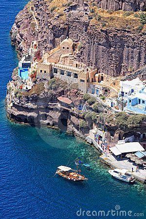 The old port of Fira Santorini island   Greece