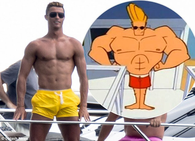 Fantasy pick: Cristiano Ronaldo shows off his buff body while on holiday in Miami and (inset) cartoon character Johnny Bravo