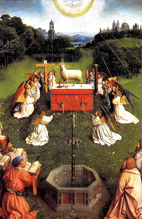 Ghent Altarpiece D - Adoration of the Lamb 2wide