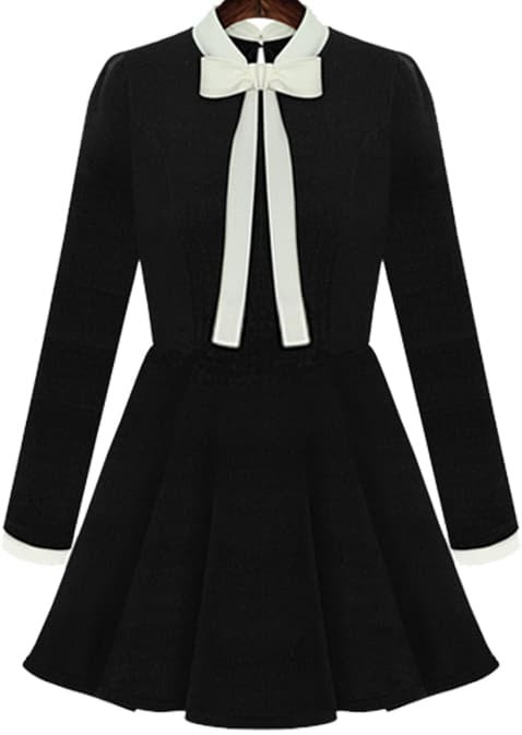 Shop Black Long Sleeve Bow Flouncing Dress online. SheIn offers Black Long Sleeve Bow Flouncing Dress & more to fit your fashionable needs.