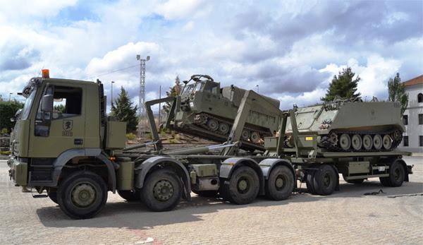 Colaboración entre la Brigada Acorazada y la Agrupación de Transporte.