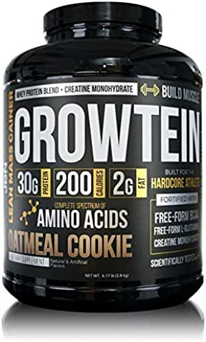 Best 2020 - Growtein by JBN - Whey Protein Isolate and Whey Protein Concentrate Blend Fortified with Creatine Monohydrate, Free-Form BCAAs and L-Glutamine. (Oatmeal Cookie)