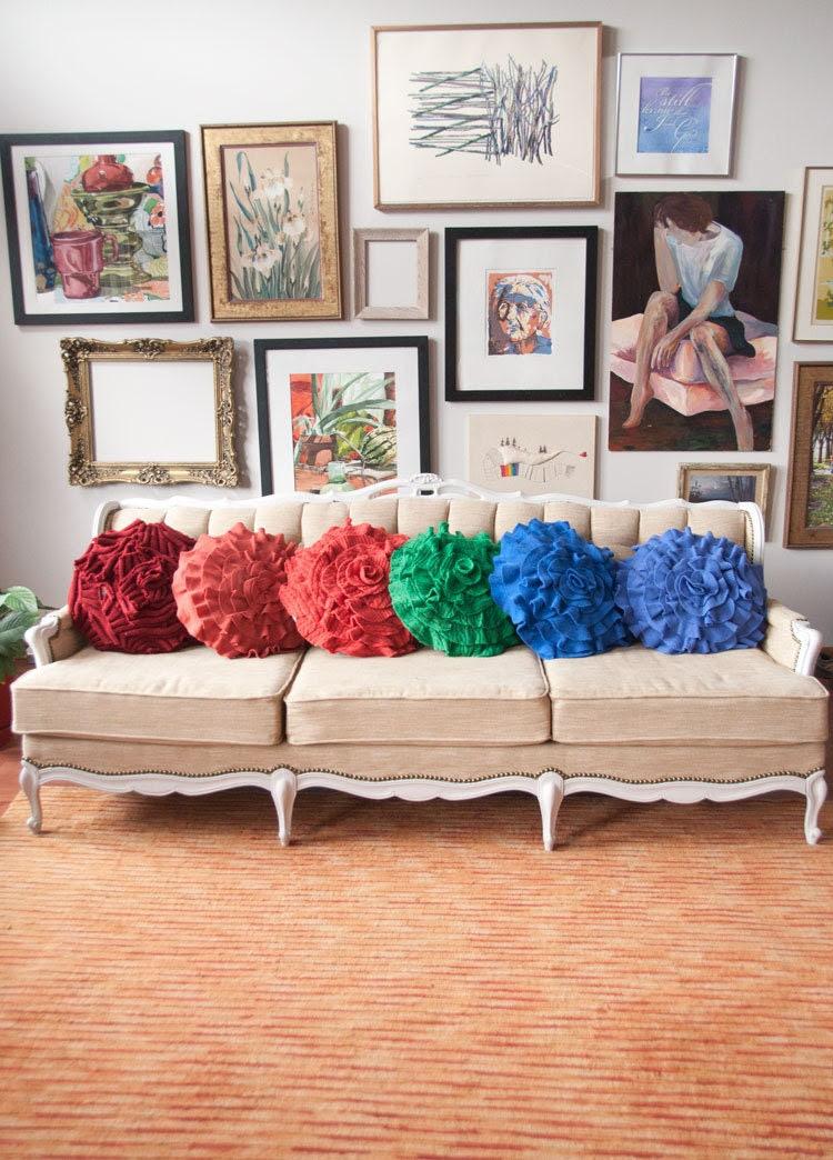 Brick Red Ribbed Ruffle Rose Pillow - Large