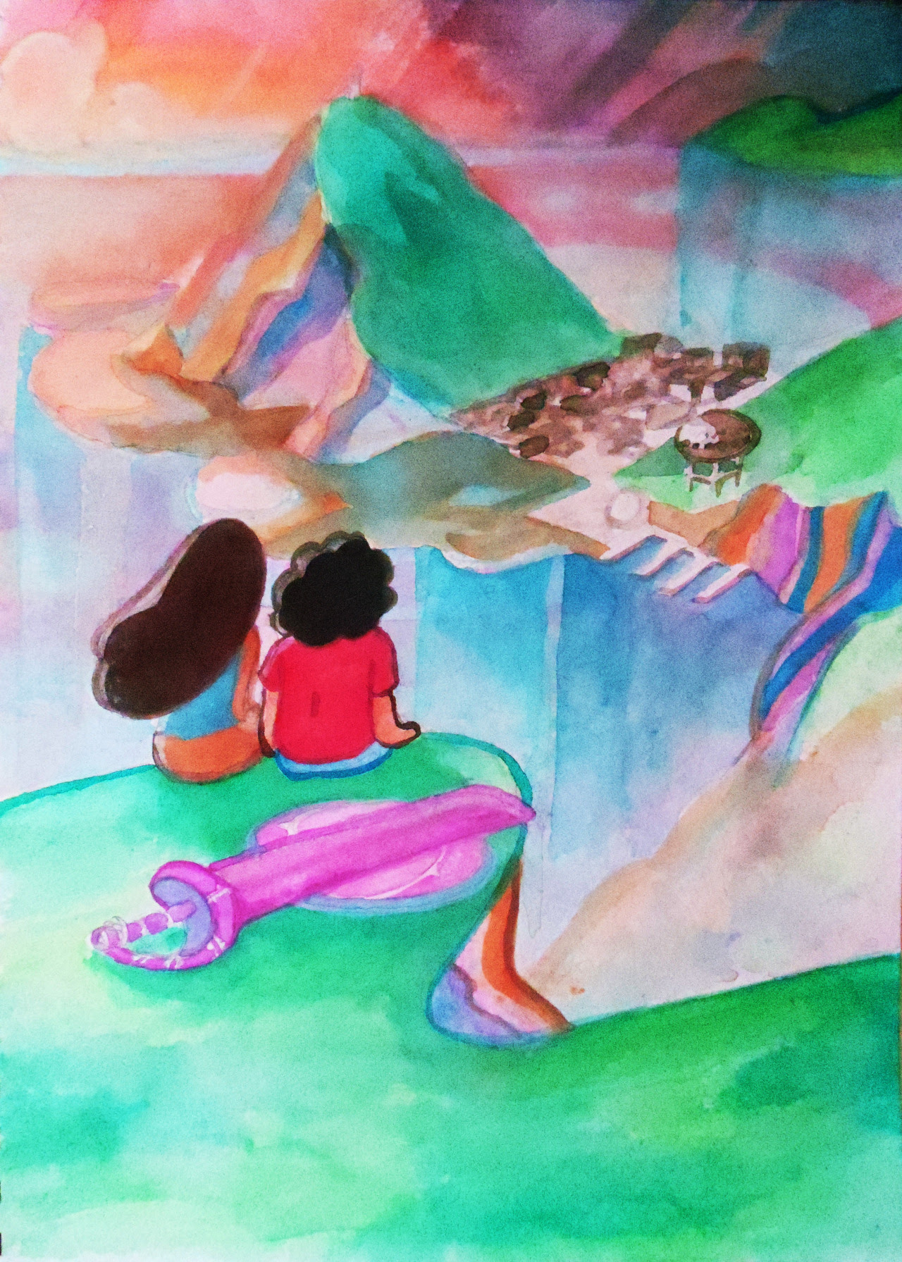 OVERLOOK 8.31.16 Watercolor on paper Commission for Tamasha (and her students!)