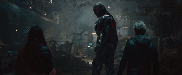 Scarlet Witch (Elizabeth Olsen) and Quicksilver (Aaron Taylor-Johnson) confront Ultron in 2015's AVENGERS: AGE OF ULTRON.