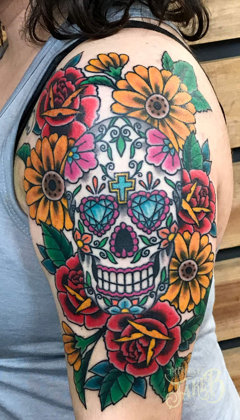 Sugar Skull And Flowers Tattoo Tattoos By Jake B