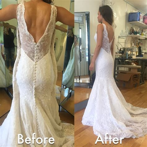 Before & After Wedding Dress Alteration. Initially it was