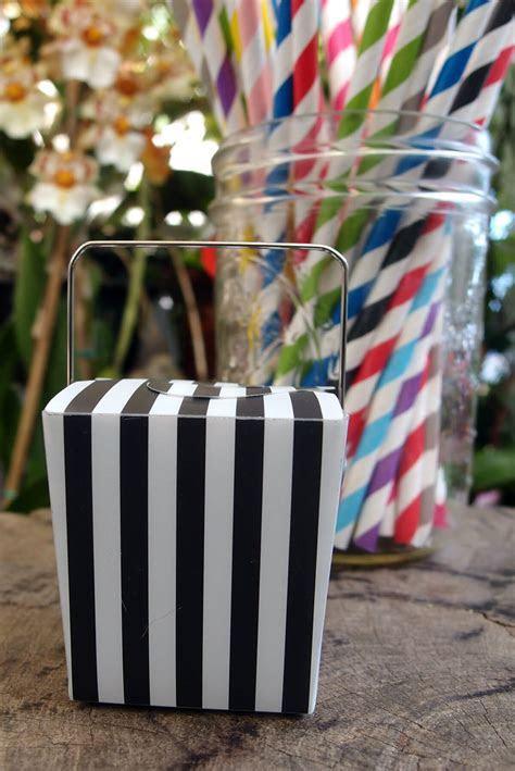 "12 Mini Black & White Striped Takeout Boxes 2"" (12 boxes)"