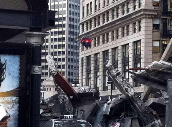 Shockwave, or at least his cardboard cut-out, looms above the ruins of Chicago in TRANSFORMERS 3.