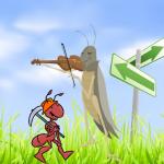 ant and grasshopper, aesop fable, ant, grasshopper