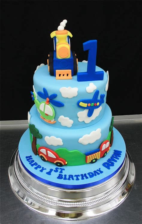 All Types Of Transport Tiered Birthday Cake