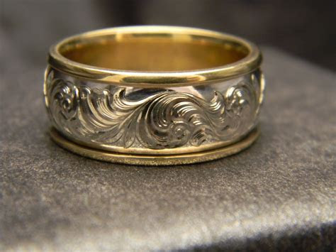 10mm 14K White Gold Engraved Ring with 14K Yellow Gold