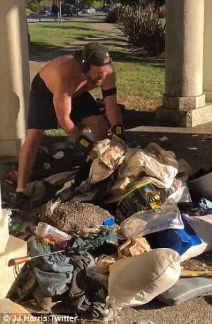 Despite outraged bystanders pleading for Sintay to stop, he continued to rummage through the belongings before tossing some into the lake and a trash can