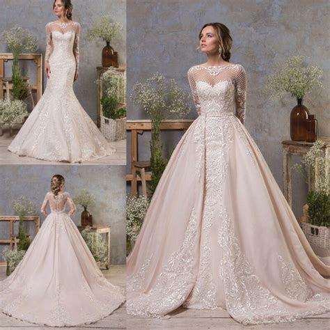 Wedding Dresses Detachable Train Long Sleeves Mermaid