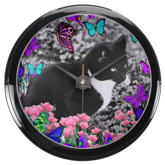 Freckles in Butterflies III, Tux Kitty Cat Aquarium Clock
