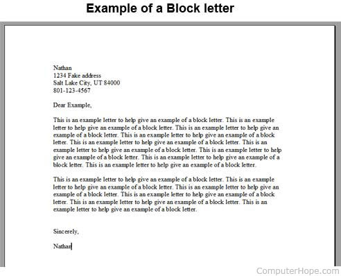 Block letter example