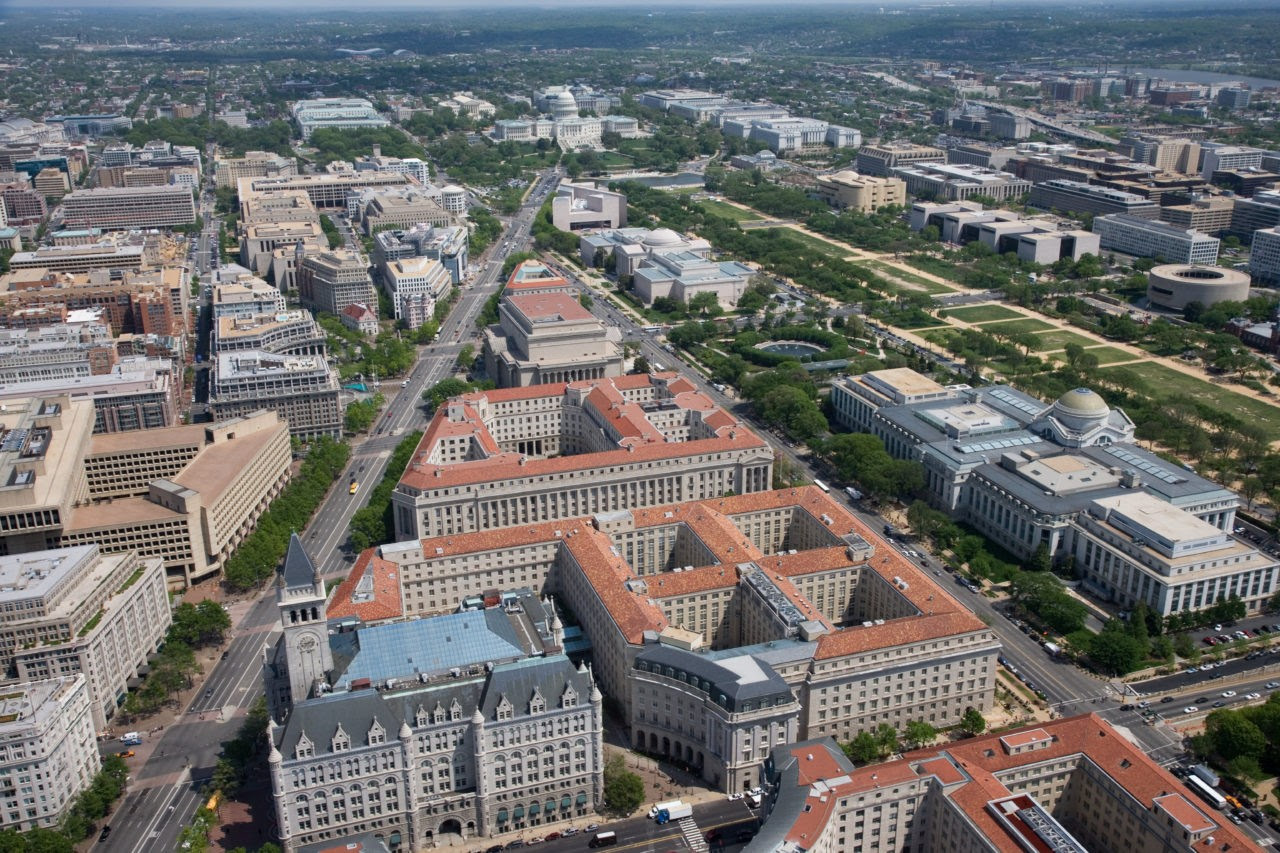 Federal Triangle, facing east (Source: Wikimedia Commons)