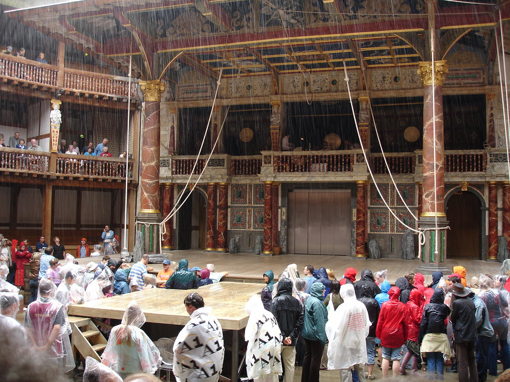 The stage, and the rain, for Pericles, Prince of Tyre