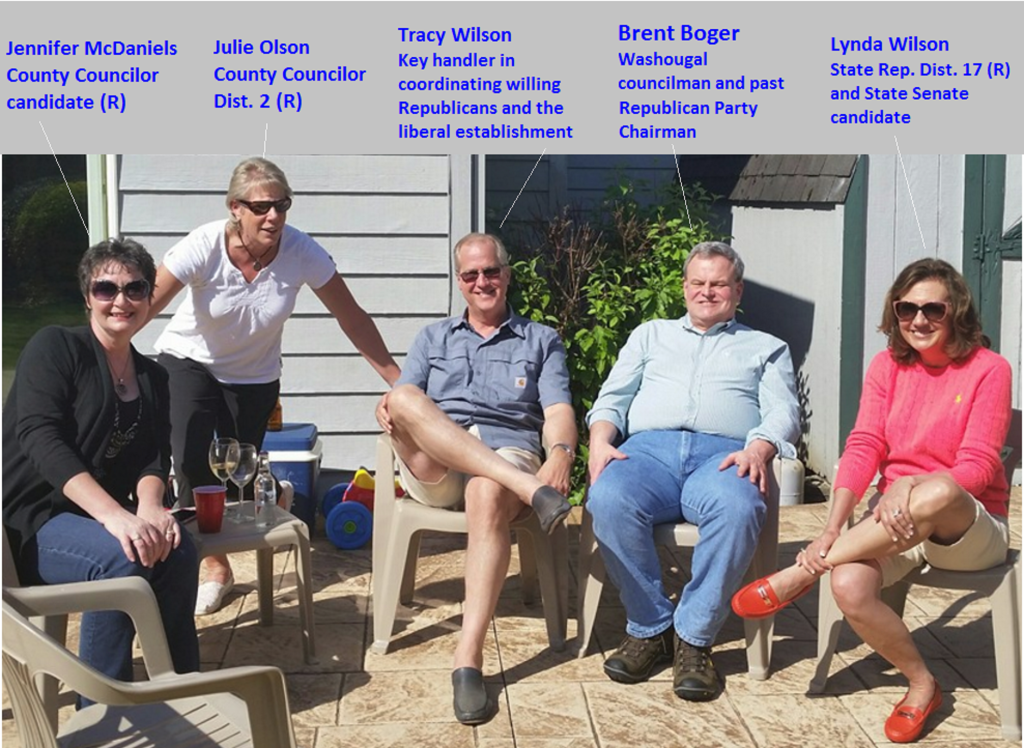 Local Republicans who are in overt collusion with Clark County liberal establishment to reclaim power for the establishment. Photo taken at at the home of liberal Columbian editor Lou Brancaccio.