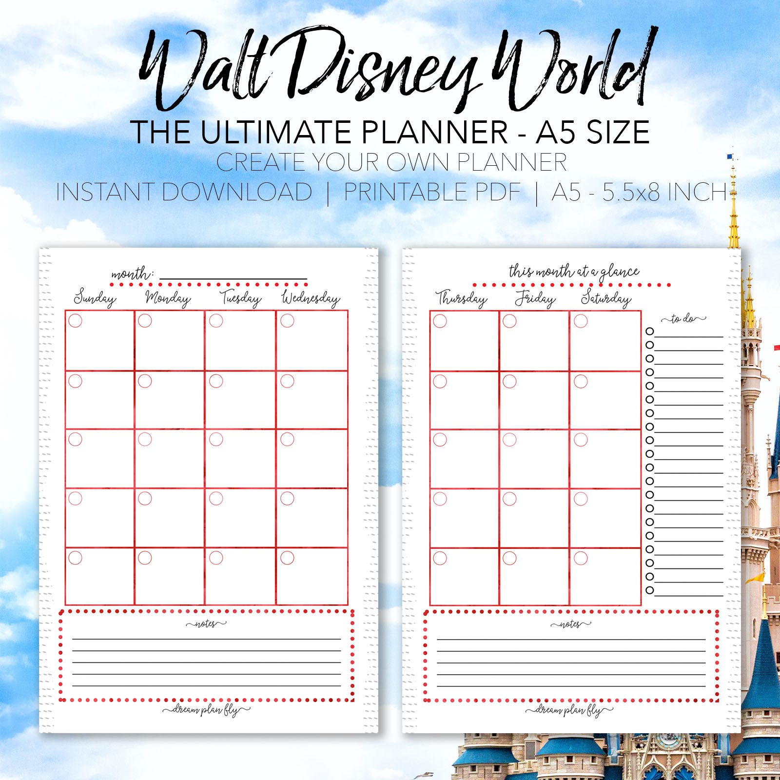 Ultimate Walt Disney World Vacation Planner  A5 Size
