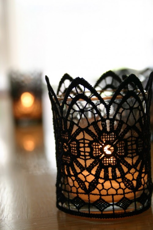 DIY Gothic Lace Candles For Halloween Decor | Shelterness