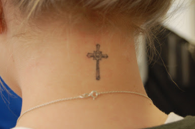 Grey Ink Cross Back Neck Tattoo