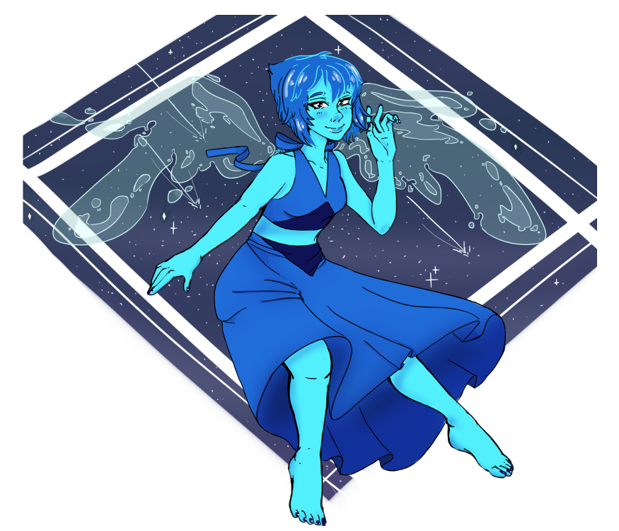 Cleaned up and finished that Lapis Lazuli drawing, too! I think this is my best Lapis piece.