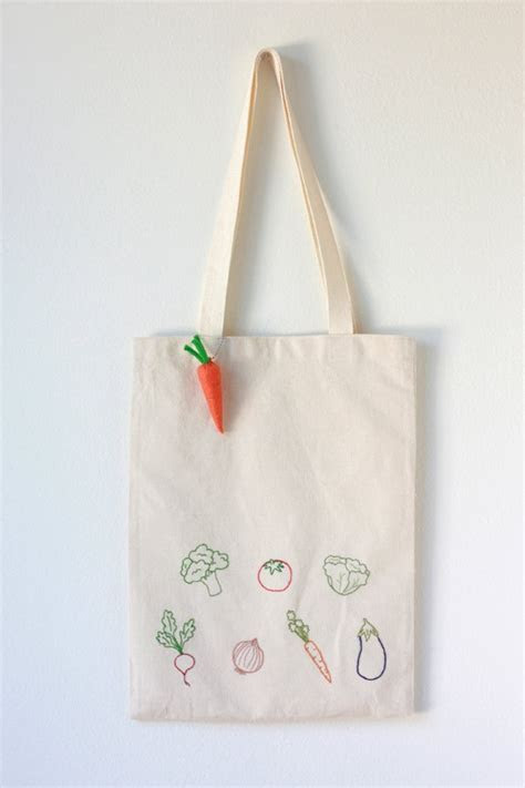 Vegetable Embroidered Cotton Canvas Tote Bag with Felt