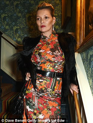 Stealing the show: Catwalk veterans Naomi and Kate commanded attention as they posed for photos on the venue's winding staircase