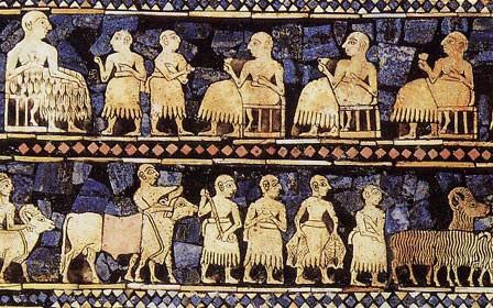 L'étendard d'Our, dit panneau de la paix (nécropole d'Our, vers 2500 avant JC, )