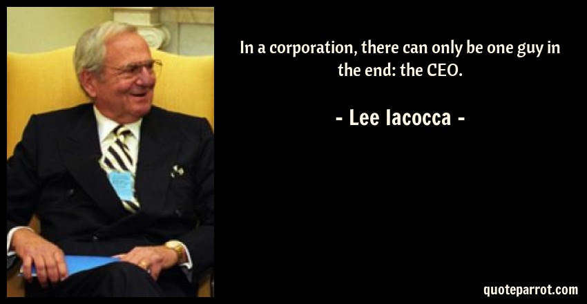 In A Corporation There Can Only Be One Guy In The End By Lee