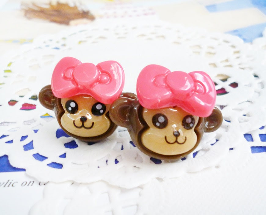 Clay Earrings - Smiling Little Monkeys with Dark Pink Bows - LAST PAIR -