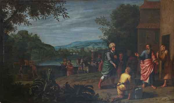 Jan Simon Paynes.  Τον προφήτη Elisey και τον διοικητή Naaman.  1610η χρόνια.  Μουσείο Περιφερειακής Τέχνης Ryazan