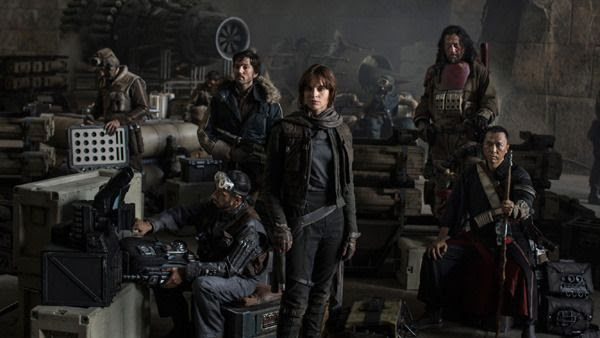 An official cast photo for ROGUE ONE: A STAR WARS STORY.