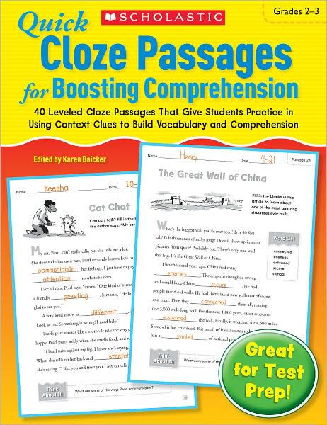 Quick Cloze Passages For Boosting Prehension Grades 2