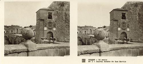 Fotografía estereoscópica de Toledo. Puerta y Puente de San Martín