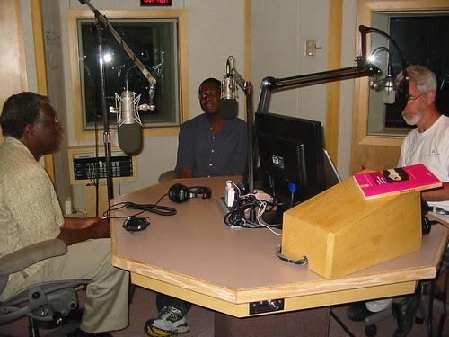 Me Christopher Lydon Calestous Juma in studio