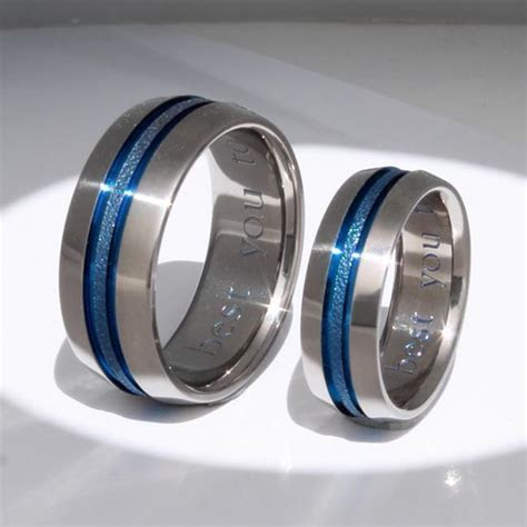 Matching Blue Titanium Ring Set stb16 ? Titanium Rings Studio