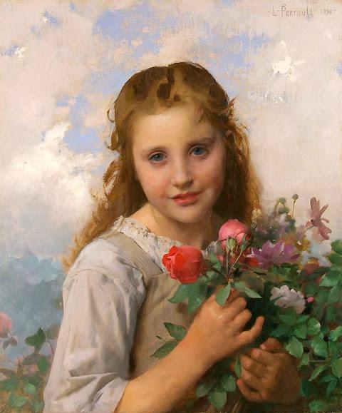 Petite fille au bouquet de fleurs