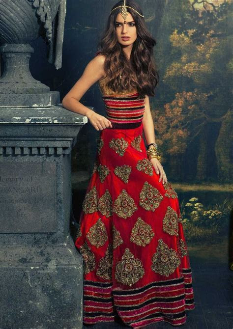 Red Western Indian Lengha   Indian inspirations