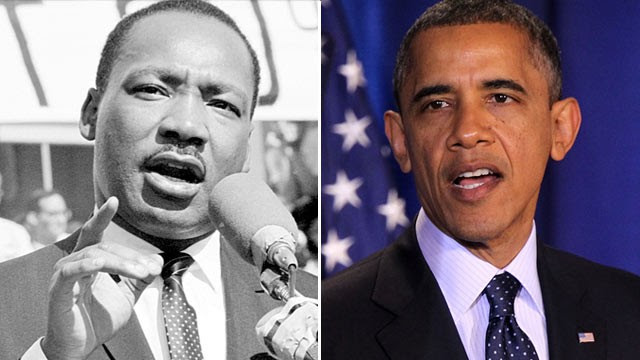 PHOTO: Martin Luther King Jr., left, circa 1970's, left, and President Barack Obama Dec. 3, 2012, at the National Defense University in Washington, D