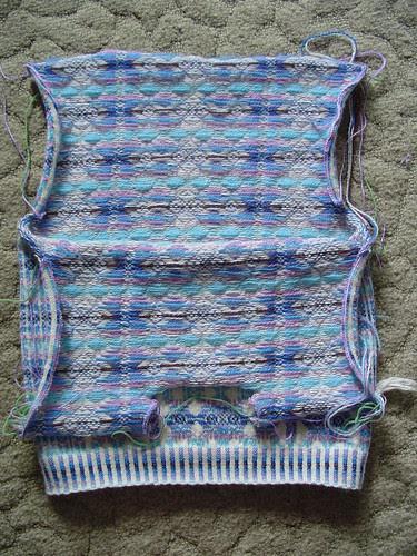 VS sweater, steeks cut open