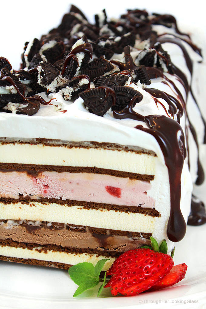 Easy Neapolitan Ice Cream Sandwich Cake Recipe Through Her Looking