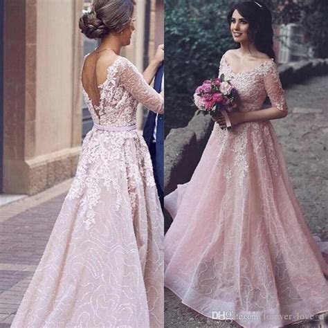 Discount Arabic 2017 Blush Pink Colored Wedding Dress A