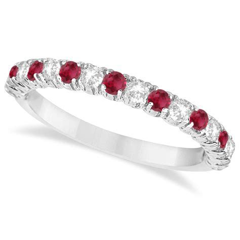 Ruby & Diamond Wedding Band Anniversary Ring 14k White