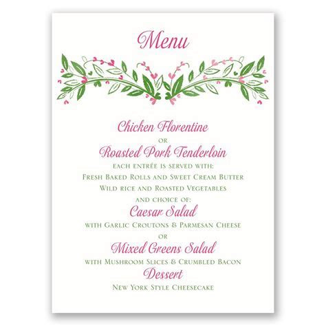 Budding with Love Menu Card   Invitations By Dawn