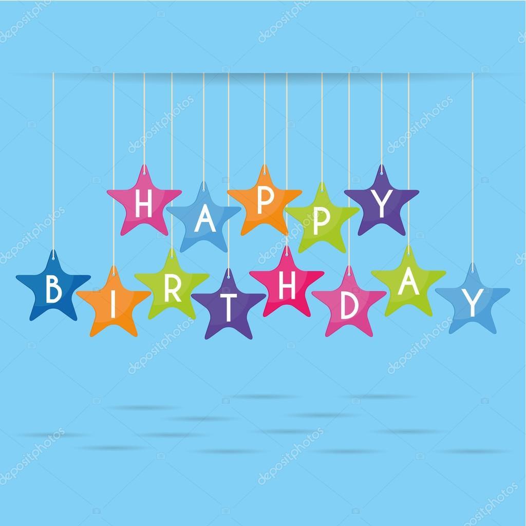 Cute Happy Birthday Card Template Editable — Stock Vector ...