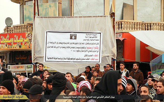 They were executed in front of the crowd after the IS fighter proclaimed them guilty of engaging in homosexual activities and that they should be punished by death, in accordance with Islamic State's radical interpretation of Sharia law