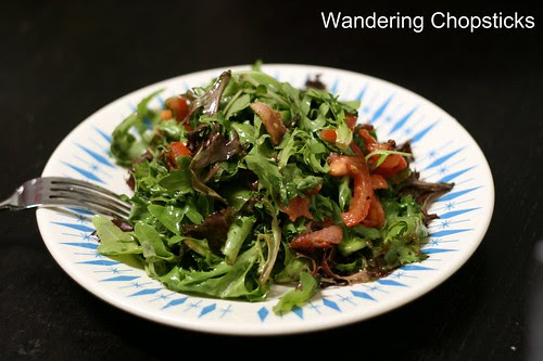 Wilted Arugula  and Lettuce Salad with Warm Bacon Dressing 2